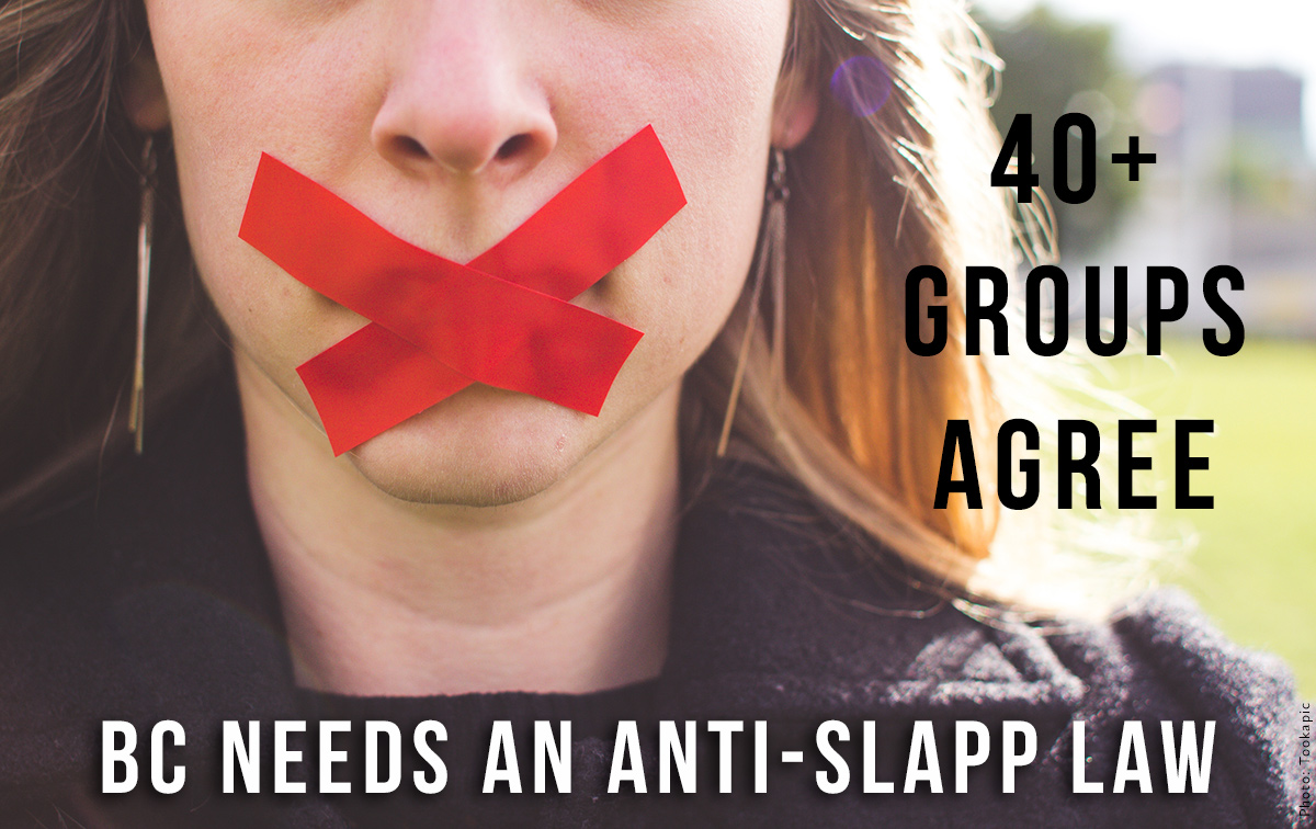 Anti-SLAPP letter graphic: taped X covering mouth