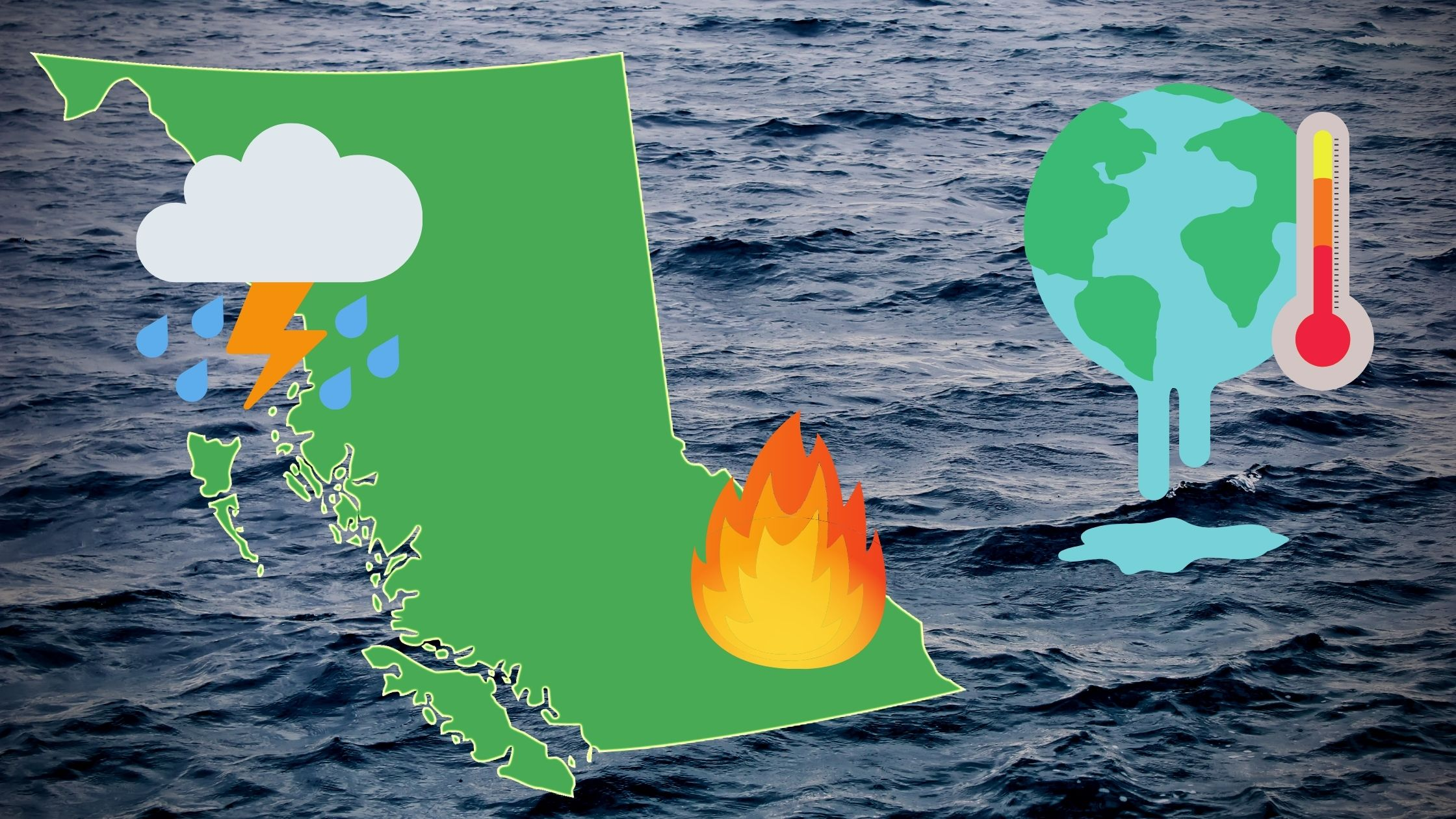 BC map with rain cloud and fire icons