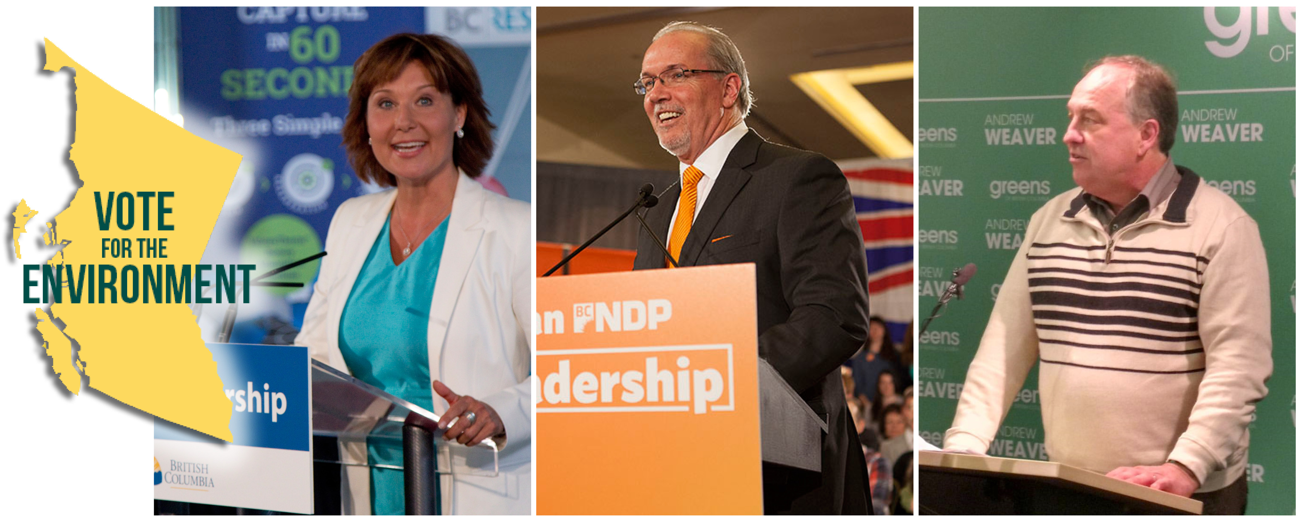 Profiles of party leaders: John Horgan (BC NDP), Andrew Weaver (BC Green), and Christy Clark (BC Liberal)