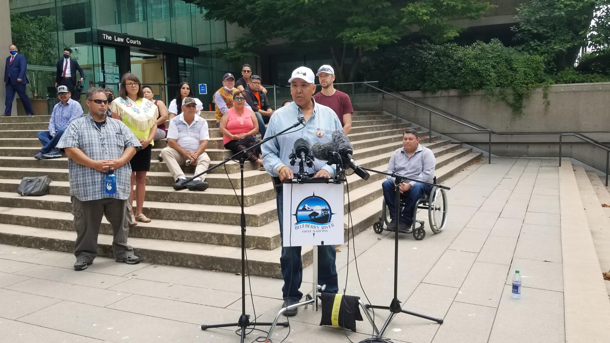 Chief Marvin Yahey of Blueberry River First Nations speaks at a press conference outside the Law Courts (Photo: Trevor Leach/David Suzuki Foundation)