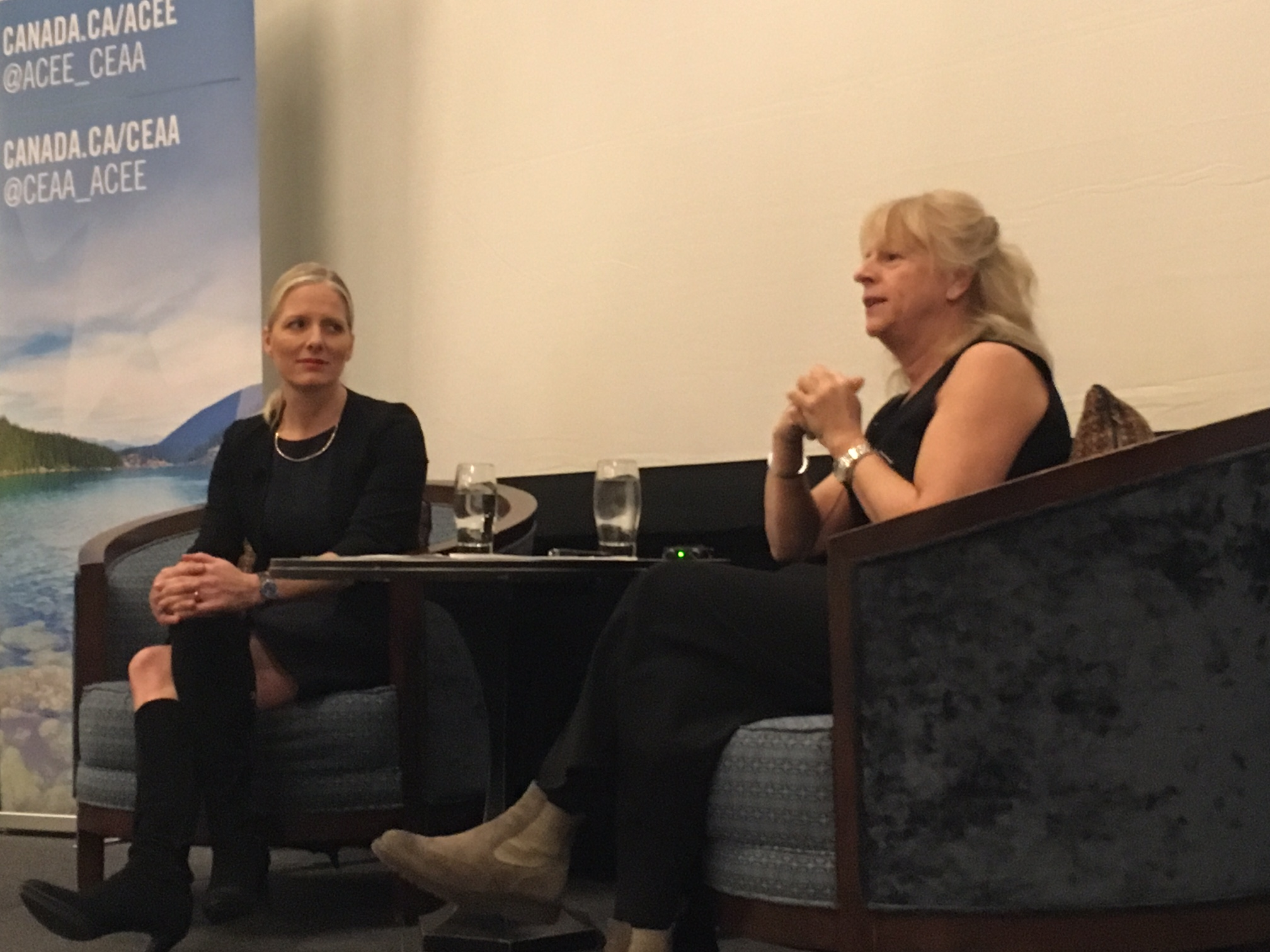 Environment & Climate Change Minister Catherine McKenna with EA Review Expert Panel Chair Johanne Gélinas (Photo: Anna Johnston).