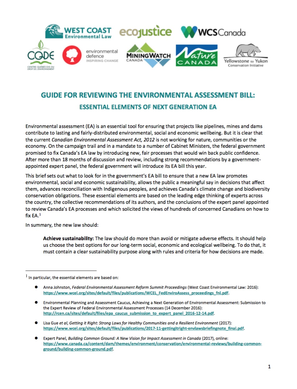 Guide for Reviewing the Environmental Assessment Bill | West Coast