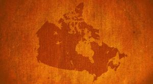 Textured orange map of so called Canada