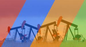 Oil pumpjacks behind red, blue, orange, green tinted stripes