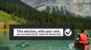 One Earth One Vote graphic - canoe